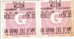 2 Tickets De Cinéma  -GAUMONT WILSON  TOULOUSE - Tickets - Entradas