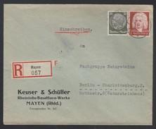 DR Einschreiben Firmenbrief Rheinische Basaltwerke Mayen Bauindustrie 1935 Mayen Rheinland Nach Berlin K732 - Deutschland