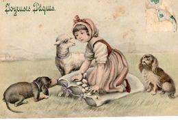 CPA. ENFANT. CHIEN DOG TECKEL MOUTON PAQUES 1910. PAR VIENNE. - Chiens