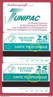 TUNIPAC 2 Cartes Dont Erreur TELEFONIQUE Variété MINT URMET NEUVE Mistake - Tunisia