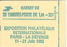 FRANCE - BOOKLET / CARNET, Yvert 2219-c1, 1982, 20 X 1.60 Liberté De Delacroix Green - Usage Courant