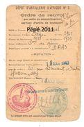 Militaria Ordre De Renvoi Par Suite De Démobilisation Servant D'ordre De Transport, Dépot D'Artillerie D'Afrique N°3 - Titres De Transport