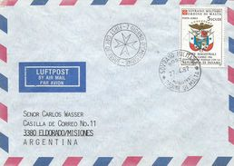 SMOM 1987 Postal Convention With Panama FDC Cover To Argentina - Malta (Orde Van)