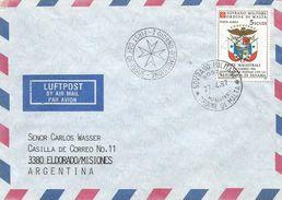 SMOM 1987 Postal Convention With Panama FDC Cover To Argentina - Sovrano Militare Ordine Di Malta