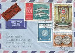 SMOM 1986 Coins Fountain Dolphin Express Cover To Argentina. Express Very Rare! - Malta (Orde Van)