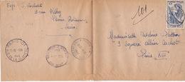 2050# CONFERENCE DE PARIS LETTRE PNEUMATIQUE Obl PLESSIS ROBINSON 1946 Pour PARIS - 1921-1960: Modern Period