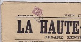 2055# BLANC SUR JOURNAL ENTIER LA HAUTE AUVERGNE Obl ST FLOUR CANTAL 1906 - Marcophilie (Lettres)
