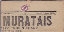 2056# BLANC SUR JOURNAL ENTIER LE PETIT MURATAIS CANTAL 1904 MURAT - Marcophilie (Lettres)