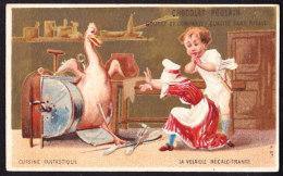 CHROMO Fond Doré Chocolat POULAIN  La Volaille Récalcitrante      Anthropomorhisme Poultry - Poulain