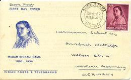 India FDC 26-1-1962 Madam Bhikaiji Cama With Cachet - FDC