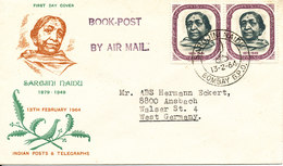 India FDC 13-2-1964 Sarojini Naidu With Cachet Sent To Germany - FDC