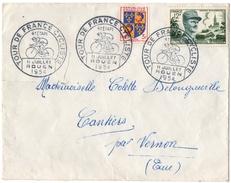 CYCLISME. ROUEN. TOUR De FRANCE 1954 Sur GENERAL LECLERC 12f + COMPLEMENT. POUR CANTIER (27) - Ciclismo
