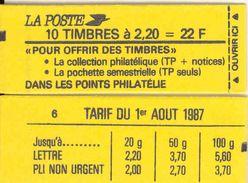FRANCE - BOOKLET / CARNET, Yvert 2376-c6, 1987, 10 X 2.20 Liberté De Delacroix Red - Definitives