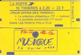 FRANCE - BOOKLET / CARNET, Yvert 2376-c8, 1989, 10 X 2.20 Liberté De Delacroix Red - Carnets
