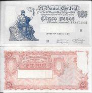 BILLETE BILLET BANCO CENTRAL DE LA REPUBLICA ARGENTINA CINCO PESOS TBE GENERAL MANUEL BELGRANO 1969 - Argentinië