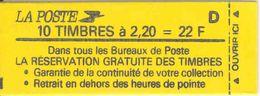 FRANCE - BOOKLET / CARNET, Yvert 2376-c10, 1987, 10 X 2.20 Liberté De Delacroix Red - Carnets