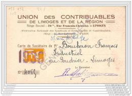 87 560 LIMOGES HAUTE VIENNE 19.. Carte UNION DES CONTRIBUABLES DE LIMOGES Et  DE SA REGION Rue Francois Chenieux ;am - Cartes