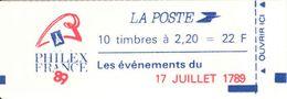 FRANCE - BOOKLET / CARNET, Yvert 2376-c12, 1989, 10 X 2.20 Liberté De Delacroix Red, Série De 11 Carnets - Usage Courant