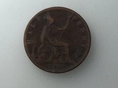 UK 1/2 PENNY 1890 HALF GRANDE BRETAGNE - 1816-1901 : Frappes XIX° S.