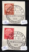 !  2 Briefmarken Bund Nr. 178 + 185 Heuss Gestempelt Mit Ersttagsstempel 31.1.1954 Bonn, 70. Geburtstag Bundespräsident - [7] République Fédérale