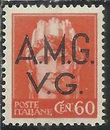 TRIESTE VENEZIA GIULIA 1947 AMG-VG SOPRASTAMPATO D'ITALIA ITALY OVERPRINTED LIRE 2  MNH - Trieste