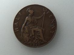 UK 1/2 PENNY 1917 HALF GRANDE BRETAGNE - 1902-1971 : Monnaies Post-Victoriennes