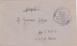 Feldpost WW2:  To 1. Batterie Flakscheinwerfer-Abteilung 808 FP L31013 LGPA Berlin P/m  Beelitz (Markistad) 13.4.1944 - - WO2