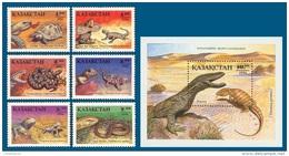 Kazakhstan 1994 Mih. 51/56 + 57 (Bl.2) Fauna. Reptiles MNH ** - Kazachstan