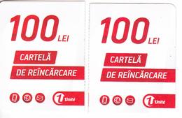 Moldova   Moldavie  Moldau ,  Prepaid Phonecards -  Unlte  ,  100 Lei  +100 Lei , Tipe 2 , Paper , Used - Moldova