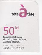 Moldova ,  Moldavie  , Prepaid Phonecards - Moldtelecom - Tete-a-tete , 50 Lei , Used - Moldova