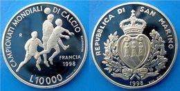SAN MARINO 10000 1998 ARGENTO PROOF SILVER FOOTBAL CHAMPIONSHIP CAMPIONATI MONDIALI CALCIO FRANCIA 98 PESO 22g TITOLO 0, - Saint-Marin