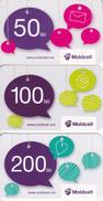 Moldova   Moldavie  Moldau ,  Prepaid Phonecards  , Moldcell , 50 Lei , 100 Lei , 200 Lei , Set , Paper , Used - Moldova