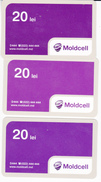 Moldova , Moldavie  Moldau ,  Prepaid Phonecard -  Moldcell , 20 Lei - 3 Differents Cards , Paper , Used - Moldavie
