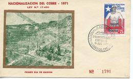 CHILE  -  1972 Copper Mines Nationalization Law 1971   FDC3016 - Chile