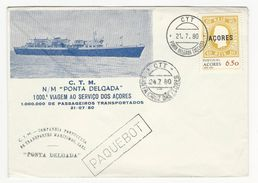 Cover * Portugal * 1980 * Ponta Delgada (Açores) * C.T.M. N/M ''Ponta Delgada'' * Paquebot - 1910-... République