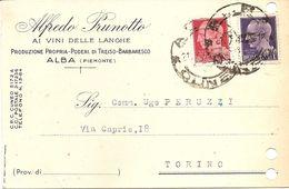 P-ALBA(PIEMONTE)ALFREDO PRUNOTTO-VINI DELLE LANGHE-CARD COMMERCIALE - Publicité