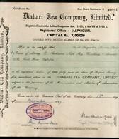 India 1940's Diabari Tea Company Share Certificate With Revenue Stamp # 10385A - Shareholdings