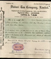 India 1940's Diabari Tea Company Share Certificate With Revenue Stamp # 10385B - Actions & Titres