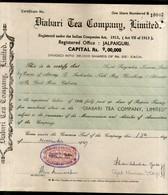 India 1940's Diabari Tea Company Share Certificate With Revenue Stamp # 10385B - Shareholdings