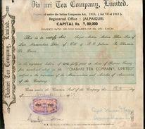 India 1940's Diabari Tea Company Share Certificate With Revenue Stamp # 10385C - Shareholdings