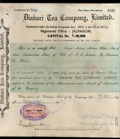 India 1940's Diabari Tea Company Share Certificate With Revenue Stamp # 10385E - Shareholdings