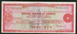 India Rs.50 State Bank Of India Traveller's Cheques ' SPECIMEN ' RARE # 16131 - Assegni & Assegni Di Viaggio