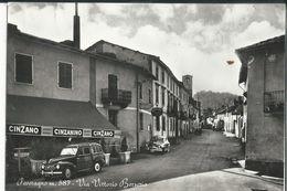 ITALIE CPSM PEVERAGNO 587 VIA VITTORIO BERSEZIO PUB CINZANO 1958 - Cuneo