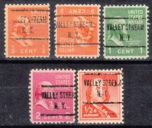 USA Precancel Vorausentwertung Preo, Locals New York, Valley Stream 723, 5 Diff. - Vereinigte Staaten