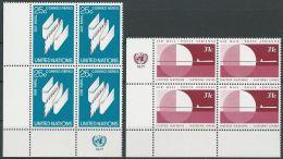 UNO NEW YORK 1977 Mi-Nr. 309/10 Eckrandviererblocks ** MNH - New York -  VN Hauptquartier