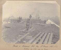 AUBERVILLIERS : Rue St Denis, Montage Tabliers Métalliques Pont, 5 Nov 1912. Quadruplement Ligne Paris . Photo Originale - Trains