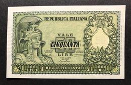 50 Lire Italia Elmata 31 12 1951 Bolaffi Fds LOTTO 337 - [ 2] 1946-… : Repubblica