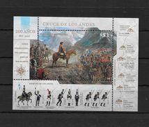 200 AÑOS 1817-2017 CRUCE DE LOS ANDES REPUBLICA ARGENTINA BLOC RUTAS SANMARTINIANAS REGIMIENTOS CANTIDAD DE EFECTIVOS - Blocs-feuillets