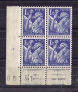 BLOC DE QUATRE  N* 434 ( Numéroté 00731) NEUF** - 1939-44 Iris