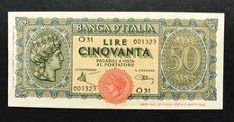 50 LIRE ITALIA TURRITA 10 12 1944 LIEVI MACCHIE SUP/FDS OTTIMO BIGLIETTO  LOTTO 341 - 50 Lire